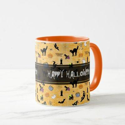 """Happy Halloween""  Random Iconic Pattern Orange Mug"