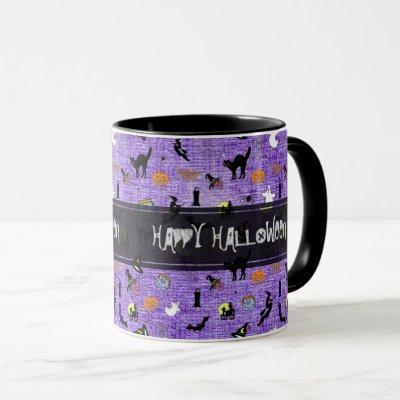 """Happy Halloween""  Random Iconic Pattern Purple Mug"