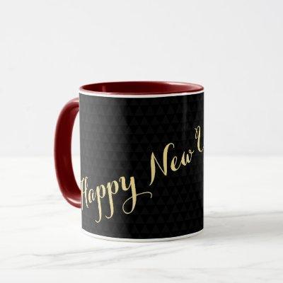 Happy New Year 2022 Black Gold Elegant Tea Coffee Mug