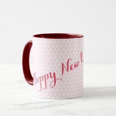 Happy New Year 2022 Pink Modern Elegant Tea Coffee Mug
