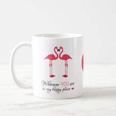 Happy Place Love Birds Pink Famingos Coffee Mug