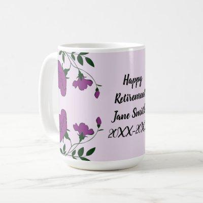 Happy Retirement Purple Flower Floral Employee Coffee Mug
