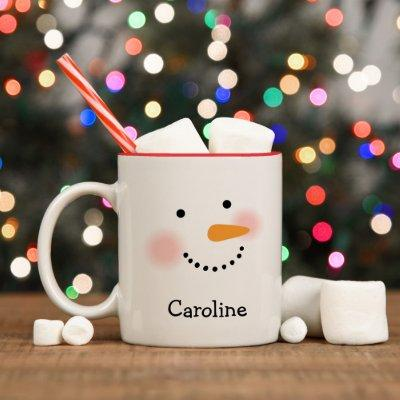 Happy Snowman Face Personalized Name Holiday Two-Tone Coffee Mug