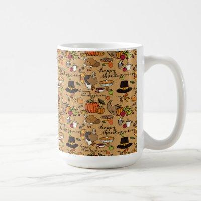 Happy Thanksgiving Themed Mug w/Tan Background