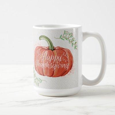 Happy Thanksgiving - WC Pumpkin with Word Art Coffee Mug