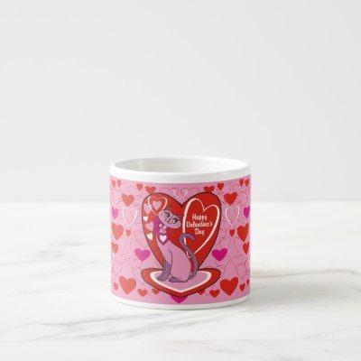 Happy Valentine's Day Pink Kitty Espresso Cup