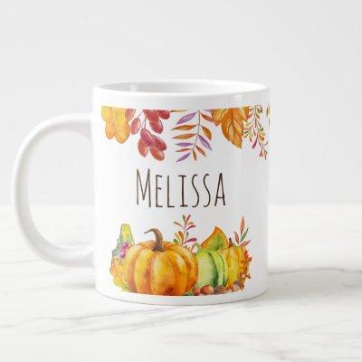 Harvest Pumpkins and Autumn Leaves Border Giant Coffee Mug