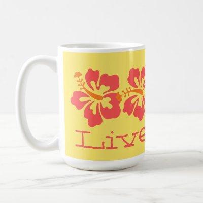 "Hawaiian Coral Hibiscus ""Live Pono"" Surfer Retro Coffee Mug"