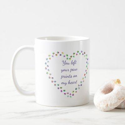 Heart Paw Prints Memorial Pet Dog Custom Coffee Mug