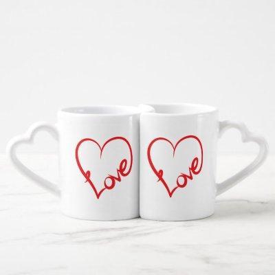 "Heart Shaped ""Love"" Word Art Heart Coffee Mug Set"