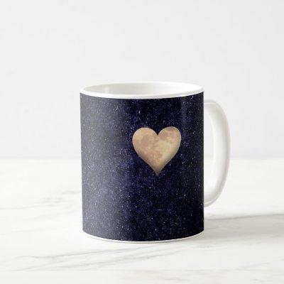 Heart Shaped Moon in the Starry Night Sky Coffee Mug