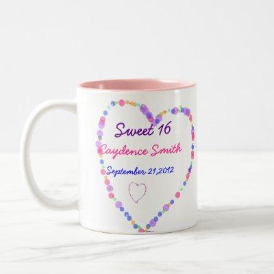 Heart- Sweet 16 Birthday Two-Tone Coffee Mug