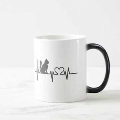 Heartbeat cat magic mug
