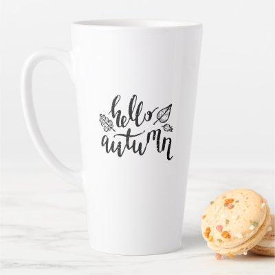 Hello Autumn Leaves Black and White Calligraphy Latte Mug