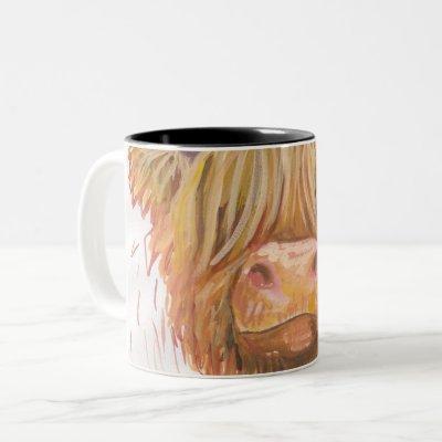 highland cow close up mug