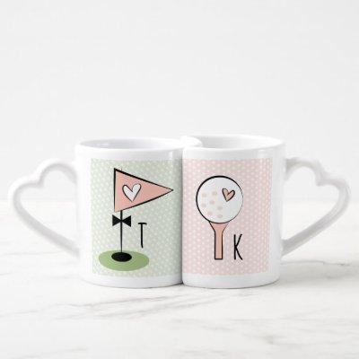 His and Hers Monogram Couples Golf Coffee Mug Set