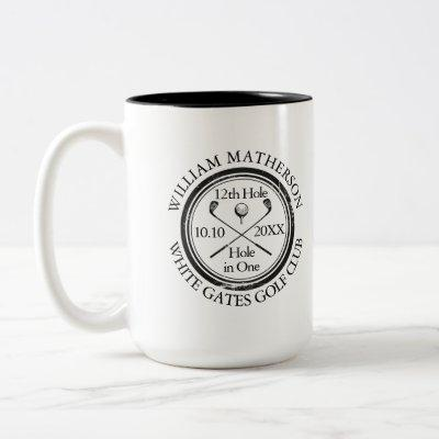 Hole in One Classic Personalised Golf Two-Tone Coffee Mug