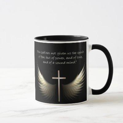Holy Spirit Wings with Cross and Scripture Verse Mug