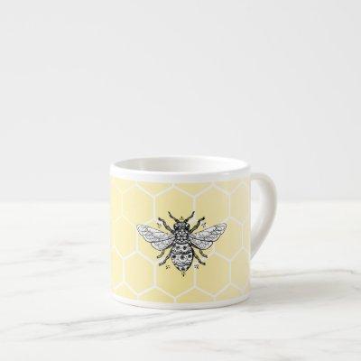 Honeybee Honeycomb Queen Bee   Espresso Mug