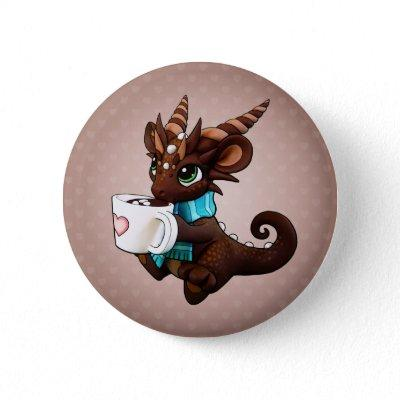 Hot Cocoa Dragon Pinback Button - Brown