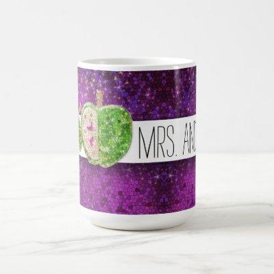 Hot Pink Green Teachers Apple Dark Purple Glitter Coffee Mug