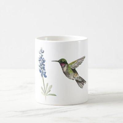Hummingbird and Bluebonnet Coffee Mug