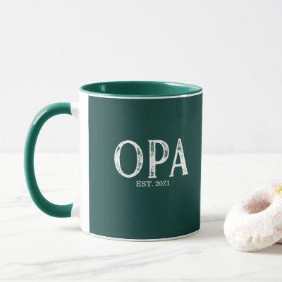 Hunter Green Opa Year Established Mug