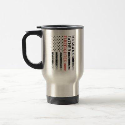 Husband, Father, Firefighter Thin Red Line Tumbler Travel Mug