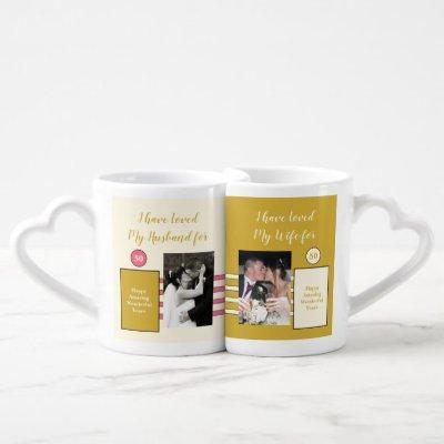 Husband Wife 50th wedding anniversary photos pink Coffee Mug Set