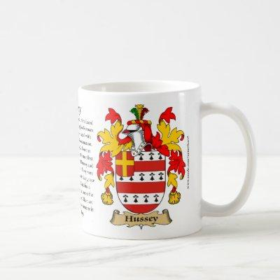 Hussey, the Origin, the Meaning and the Crest Coffee Mug