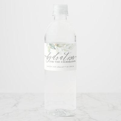 Hydration for the Celebration - Greenery Wedding Water Bottle Label