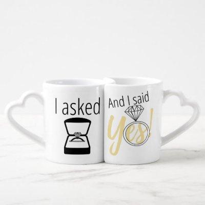 """""""I Asked"""" """"I said Yes"""" Couples Engagement Mugs"""