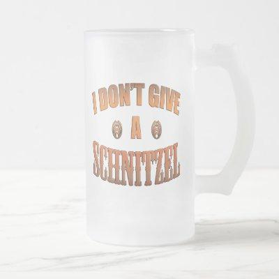 I Don't Give A Schnitzel Oktoberfest Frosted Glass Beer Mug