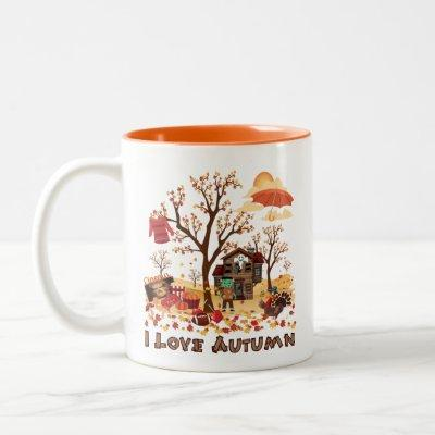 I Love Autumn - Fall Scenery Two-Tone Coffee Mug