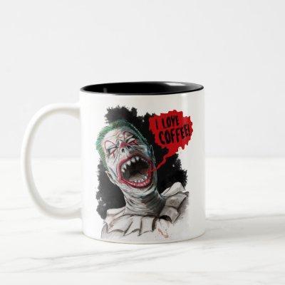 I Love Coffee Crazy Laughing Zombie Clown Two-Tone Coffee Mug