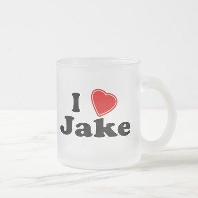 I Love Jake Frosted Glass Coffee Mug