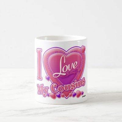 I Love My Cousins pink/purple - heart Coffee Mug
