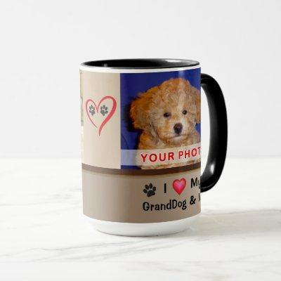 I Love My GrandDog Mug with Your 2 Photos and Text