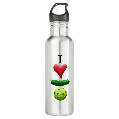 I Love Pickleball Logo Stainless Steel Water Bottle