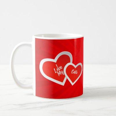 """I Love"" Red & White, Cute Hearts .. Personalized Coffee Mug"