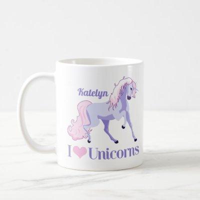 I Love Unicorns Cute Purple Personalized Coffee Mug