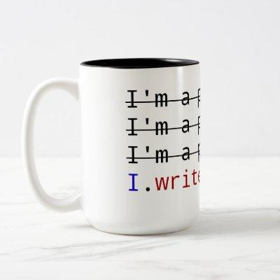 """I write code"" on Black 15 oz Two-Tone Mug"