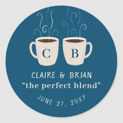Illustrated Perfect Blend Monogrammed Mugs Favor Classic Round Sticker
