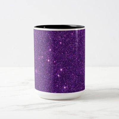 Image of Bright Purple Glitter Two-Tone Coffee Mug