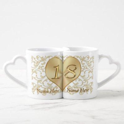 Inexpensive Beautiful 18th Anniversary Gifts Coffee Mug Set