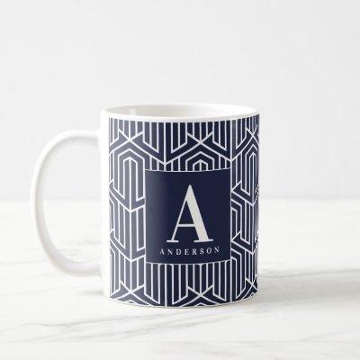 Initial / monogram geometric pattern coffee mug
