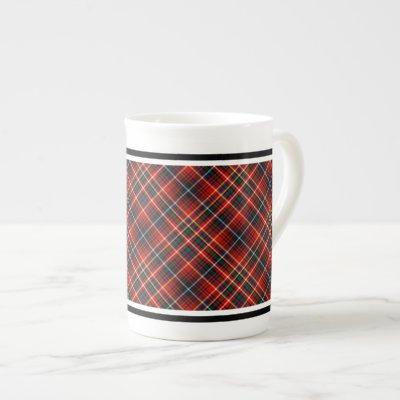 Innes Family Tartan Red and Black Plaid Bone China Mug