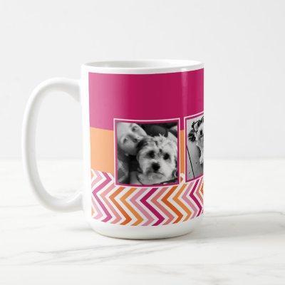Instagram Photo Collage Hot Pink Orange Chevrons Coffee Mug