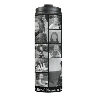 Instagram Photo Collage - Up to 14 photos Black Thermal Tumbler