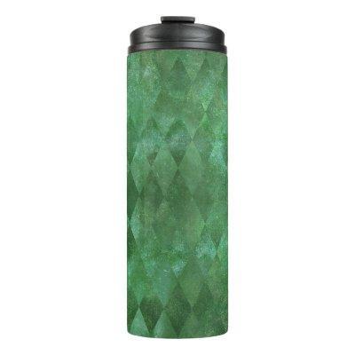 Iridescent Green Vintage Harlequin Pattern Thermal Tumbler